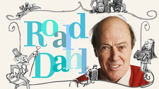 image of roald dahl with the title roald dahl and images from his books like matilda and charlie and the chocolate factory
