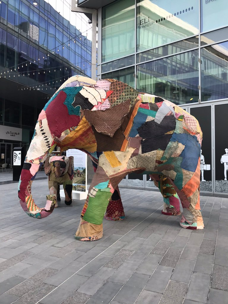 image of cloth elephants from the elephant in the room art installation at the dubai design district